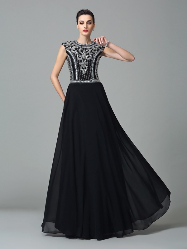 A-Line/Princess Beading Jewel Short Sleeves Floor-Length Chiffon Dresses