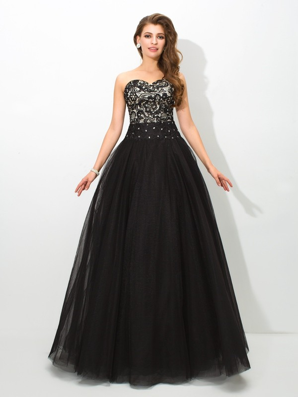 Ball Gown Lace Sweetheart Sleeveless Floor-Length Net Dresses