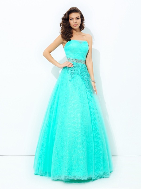 A-Line/Princess Beading Strapless Sleeveless Floor-Length Elastic Woven Satin Dresses