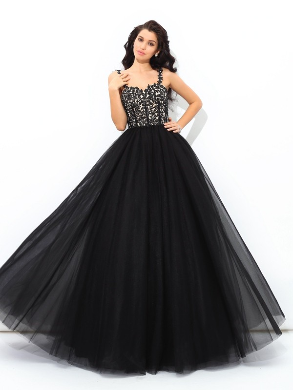 Ball Gown Applique Straps Sleeveless Floor-Length Net Dresses