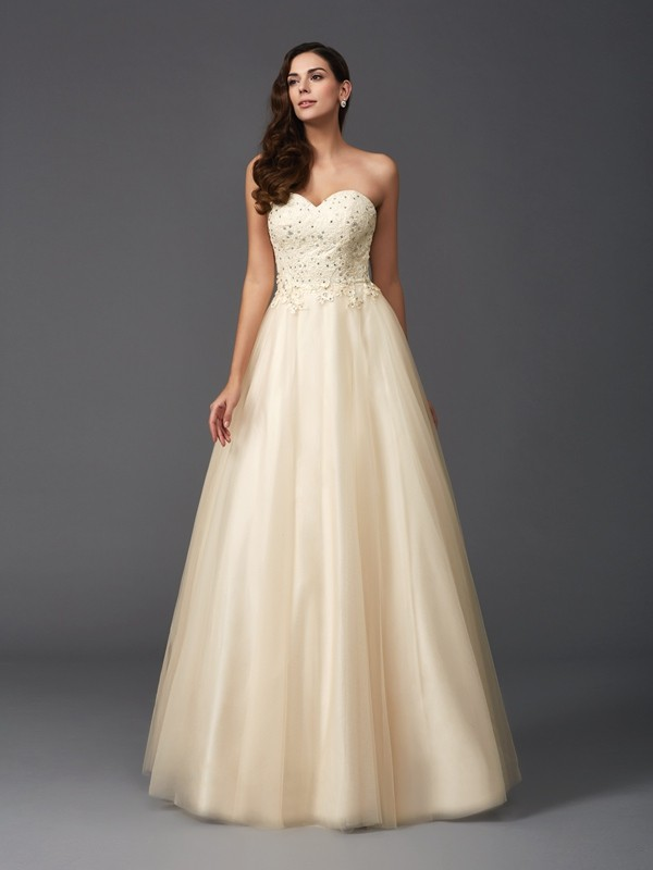 A-Line/Princess Beading Sweetheart Sleeveless Floor-Length Net Dresses