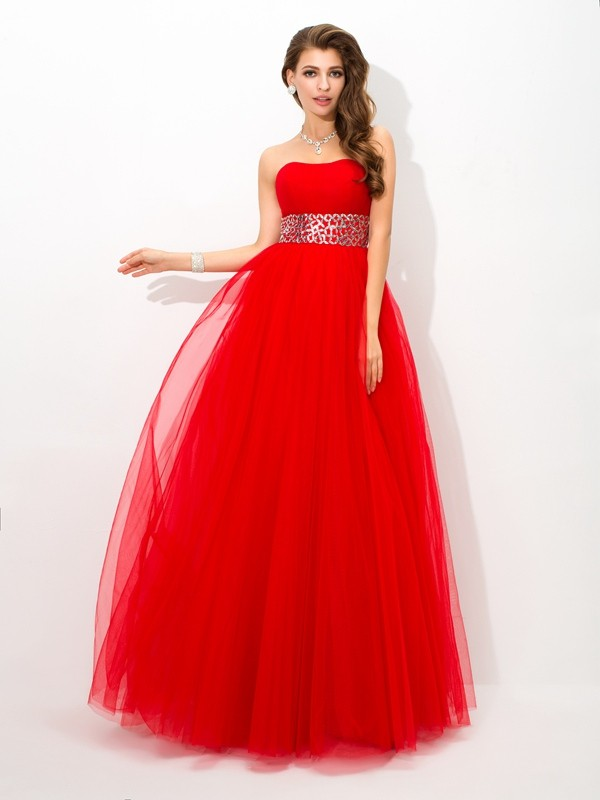 Ball Gown Beading Strapless Sleeveless Floor-Length Net Dresses