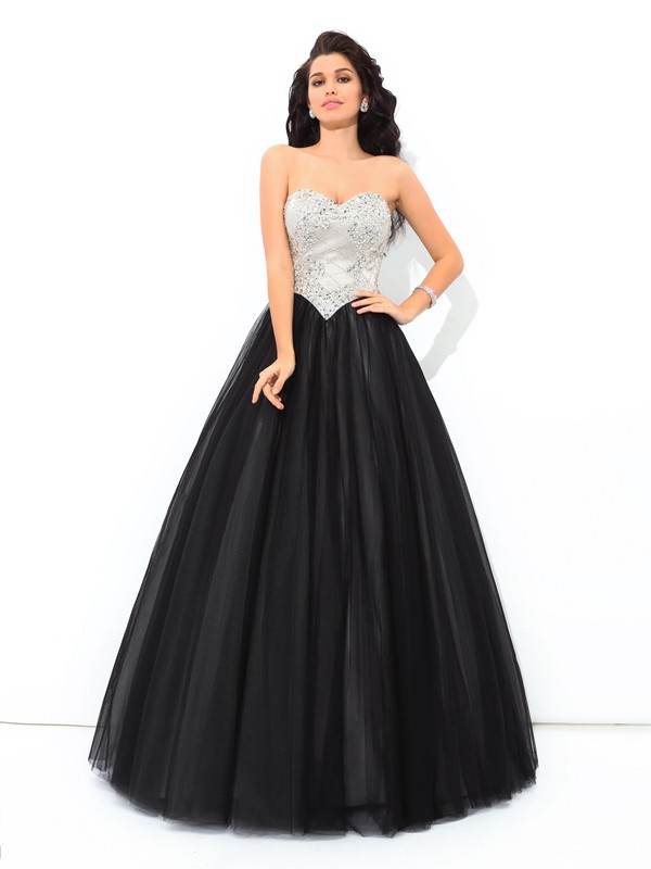 Ball Gown Paillette Sweetheart Sleeveless Floor-Length Net Dresses