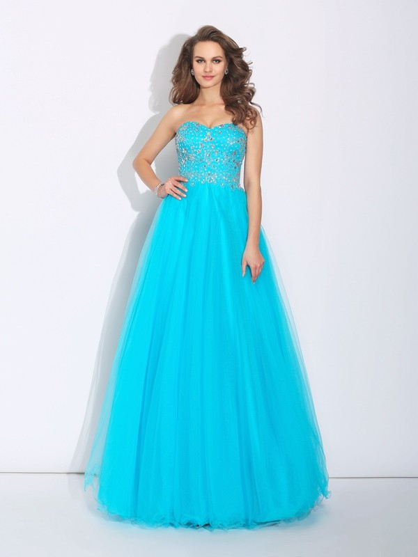 A-Line/Princess Rhinestone Sweetheart Sleeveless Floor-Length Satin Dresses