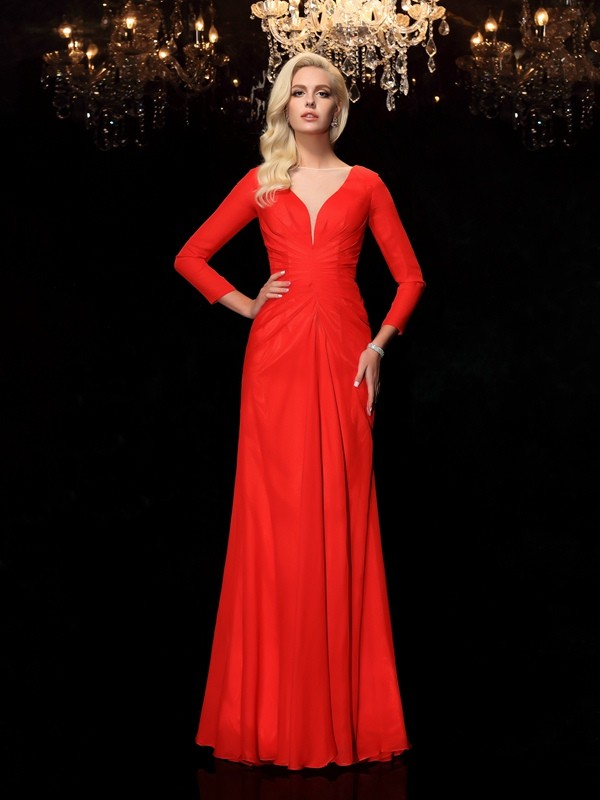 Sheath/Column Ruched Bateau Long Sleeves Floor-Length Chiffon Dresses