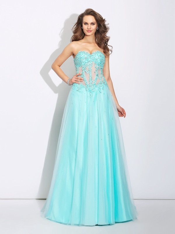 A-Line/Princess Lace Sweetheart Sleeveless Sweep/Brush Train Net Dresses