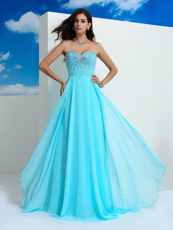 A-Line/Princess Beading Sweetheart Sleeveless Floor-Length Chiffon Dresses