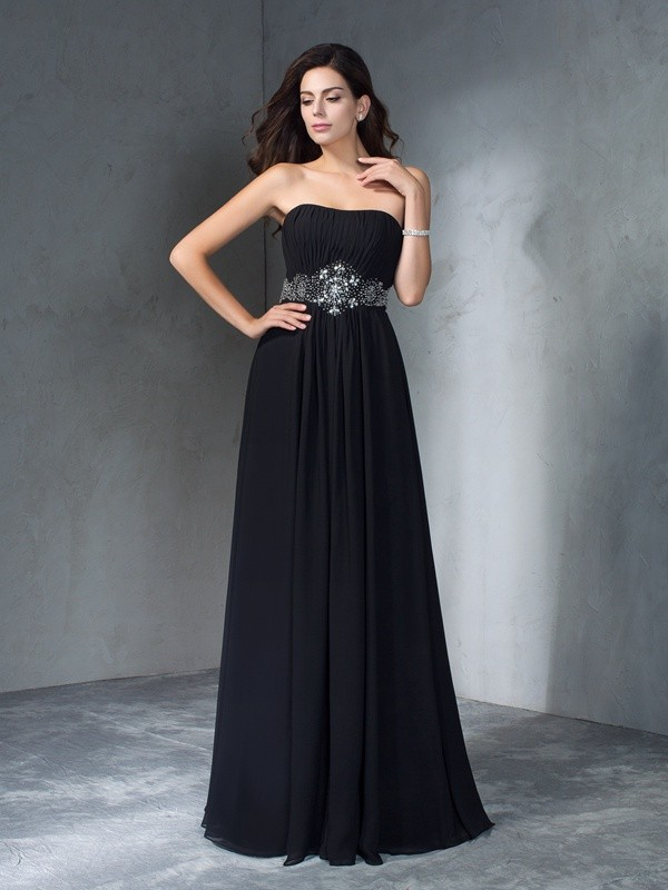 A-Line/Princess Beading Strapless Sleeveless Floor-Length Chiffon Dresses