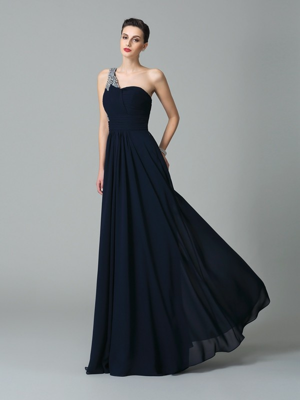 A-Line/Princess Rhinestone One-Shoulder Sleeveless Floor-Length Chiffon Dresses