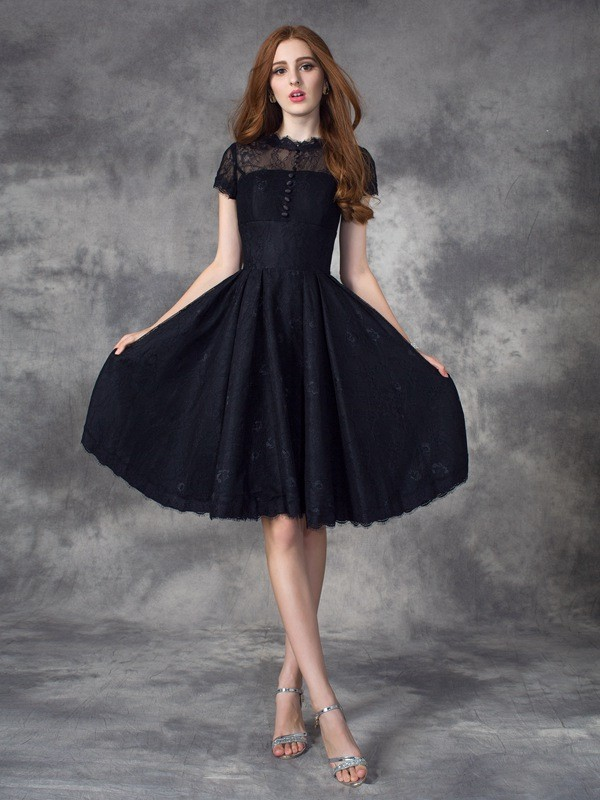 A-Line/Princess Lace Jewel Short Sleeves Knee-Length Lace Dresses