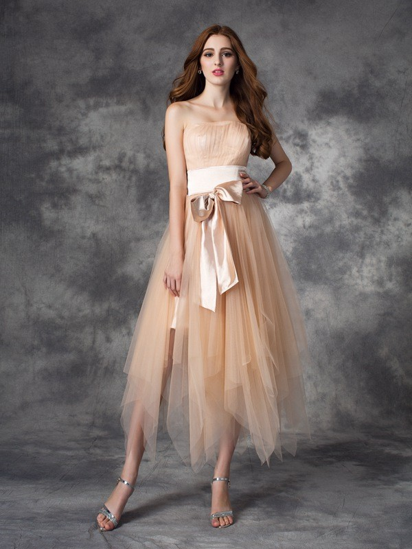 A-Line/Princess Bowknot Strapless Sleeveless Ankle-Length Elastic Woven Satin Dresses