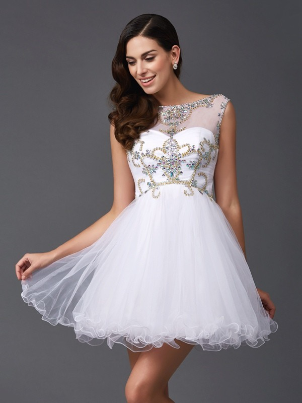 A-Line/Princess Beading Scoop Sleeveless Short/Mini Net Dresses