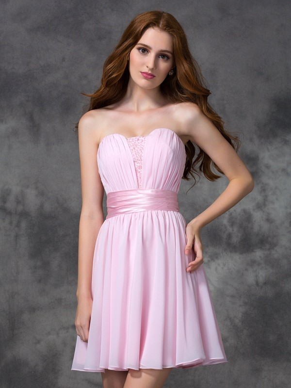 A-Line/Princess Ruched Sweetheart Sleeveless Short/Mini Chiffon Dresses