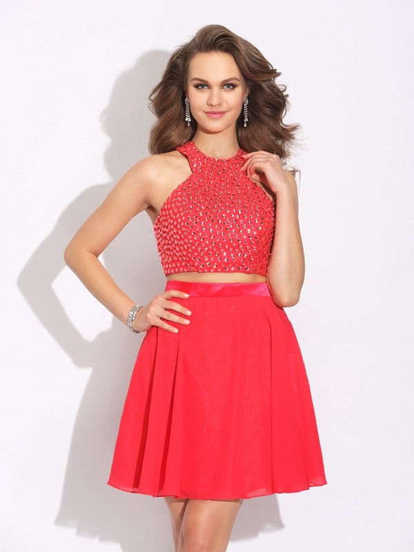 A-Line/Princess Crystal Jewel Sleeveless Short/Mini Chiffon Two Piece Dresses