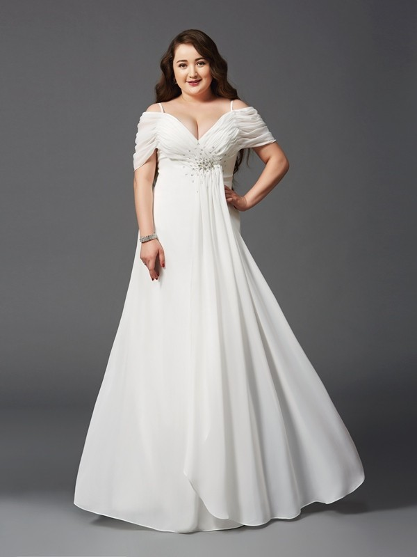 A-Line/Princess Ruched Off-the-Shoulder Short Sleeves Floor-Length Chiffon Plus Size Dresses