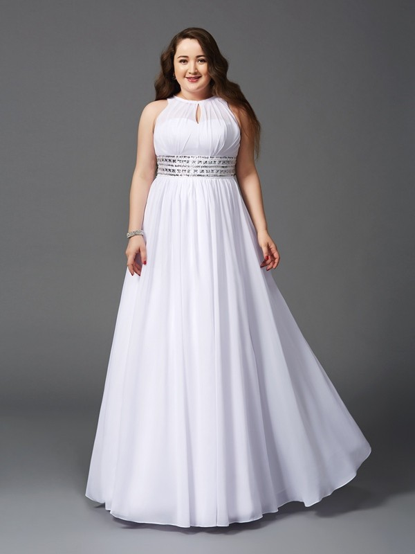 A-Line/Princess Beading Jewel Sleeveless Floor-Length Chiffon Plus Size Dresses