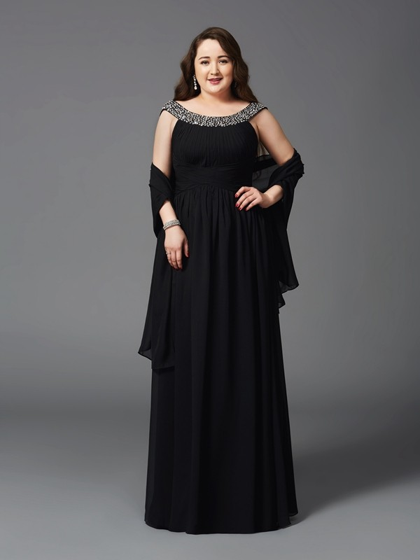 A-Line/Princess Rhinestone Scoop Sleeveless Floor-Length Chiffon Plus Size Dresses
