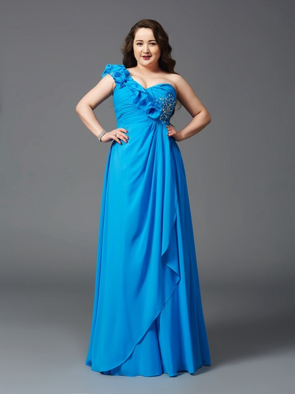 A-Line/Princess Rhinestone One-Shoulder Sleeveless Floor-Length Chiffon Plus Size Dresses