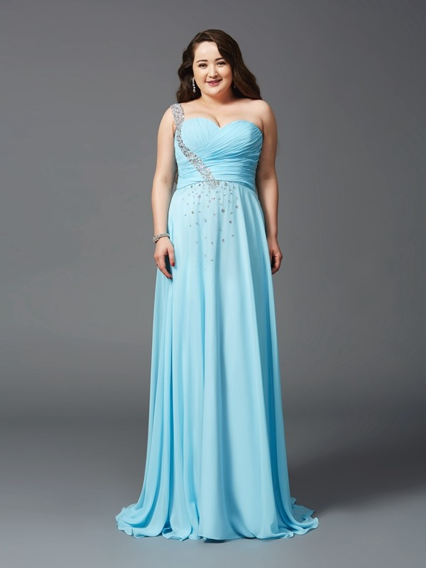 A-Line/Princess Rhinestone One-Shoulder Sleeveless Sweep/Brush Train Chiffon Plus Size Dresses