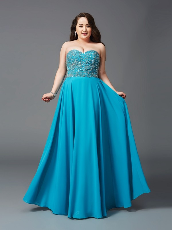 A-Line/Princess Beading Sweetheart Sleeveless Floor-Length Chiffon Plus Size Dresses