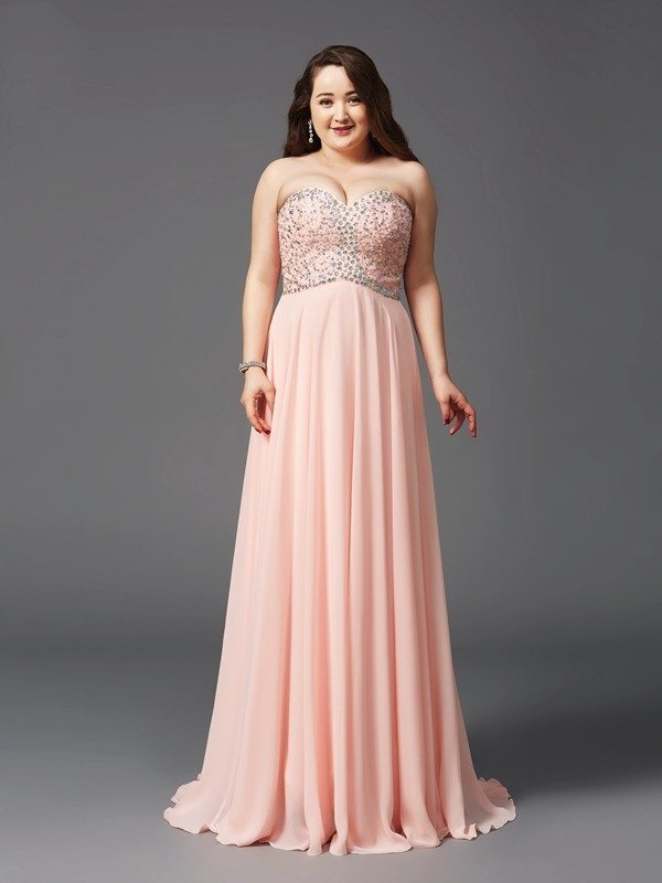 A-Line/Princess Beading Sweetheart Sleeveless Sweep/Brush Train Chiffon Plus Size Dresses