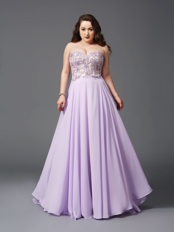A-Line/Princess Lace Sweetheart Sleeveless Sweep/Brush Train Chiffon Plus Size Dresses