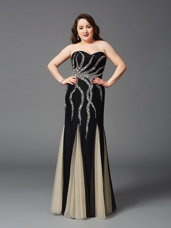 Sheath/Column Beading Sweetheart Sleeveless Floor-Length Chiffon Plus Size Dresses