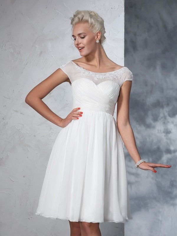 A-Line/Princess Ruched Sheer Neck Short Sleeves Knee-Length Chiffon Wedding Dresses