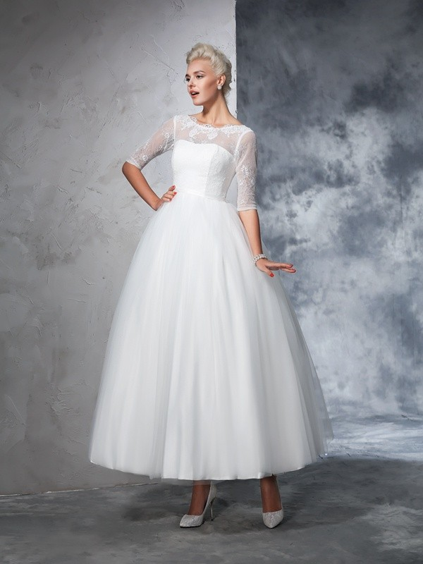 Ball Gown Lace Bateau 1/2 Sleeves Ankle-Length Net Wedding Dresses