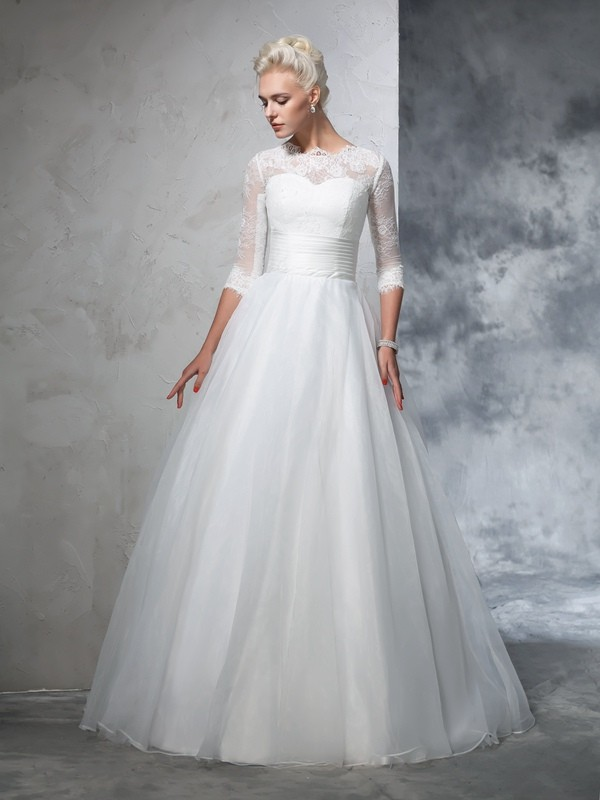 Ball Gown Applique Jewel 3/4 Sleeves Floor-Length Organza Wedding Dresses