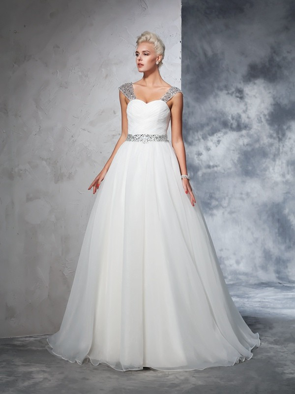 Ball Gown Ruched Straps Sleeveless Chapel Train Net Wedding Dresses