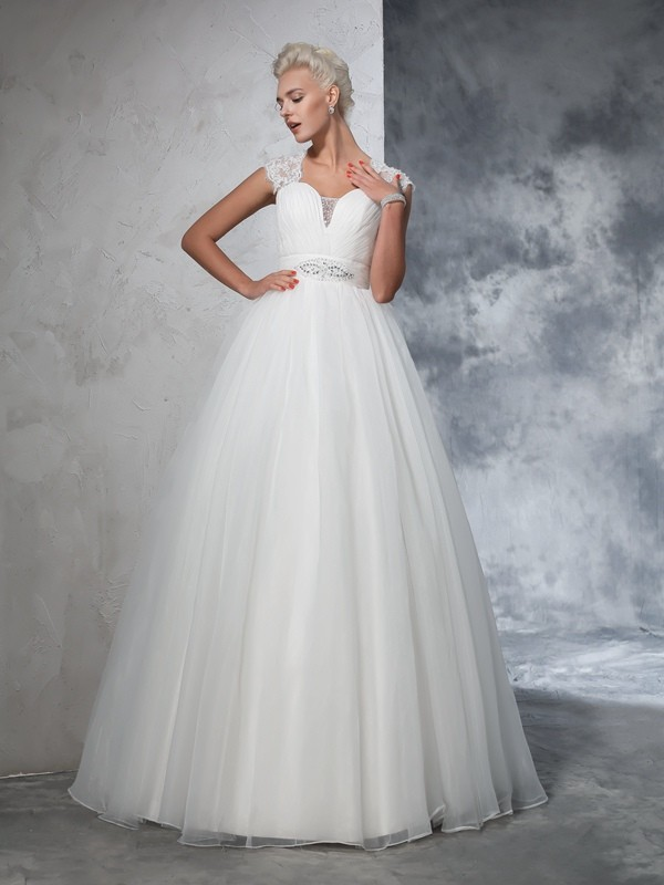 Ball Gown Ruched Sweetheart Sleeveless Sweep/Brush Train Tulle Wedding Dresses