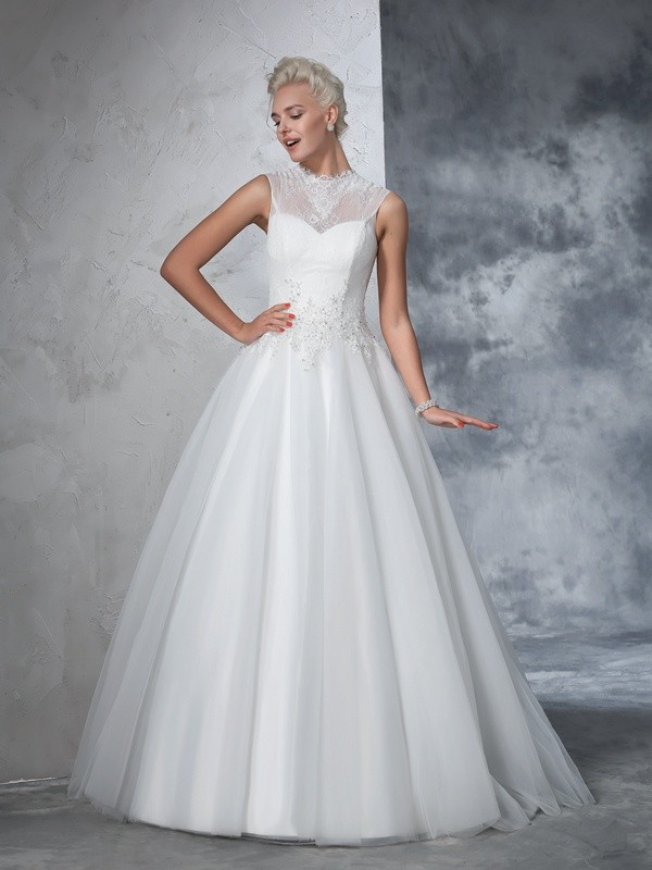 Ball Gown Applique High Neck Sleeveless Floor-Length Net Wedding Dresses