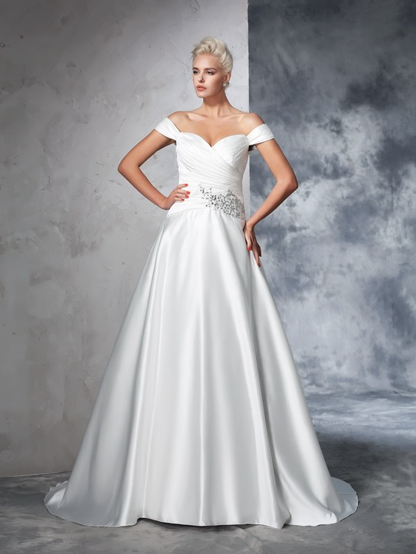 Ball Gown Ruched Off-the-Shoulder Sleeveless Chapel Train Taffeta Wedding Dresses