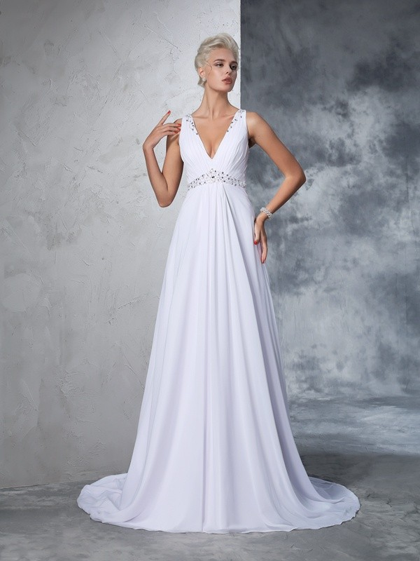 A-Line/Princess Beading V-neck Sleeveless Cathedral Train Chiffon Wedding Dresses