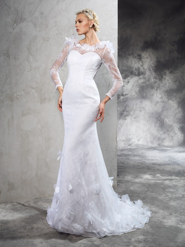 Sheath/Column Hand-Made Flower Sheer Neck Long Sleeves Court Train Satin Wedding Dresses