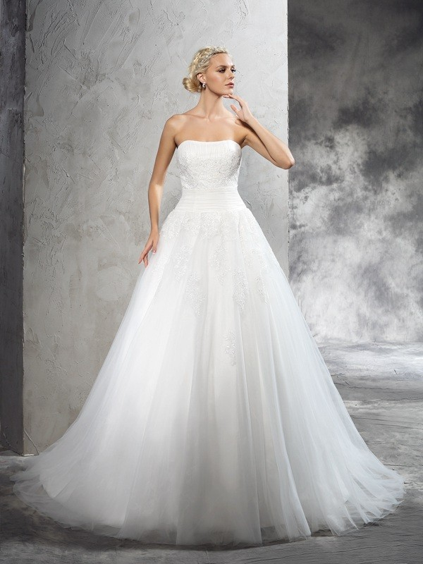 Ball Gown Applique Strapless Sleeveless Court Train Satin Wedding Dresses