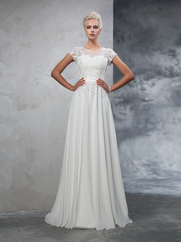 A-Line/Princess Applique Sheer Neck Short Sleeves Sweep/Brush Train Chiffon Wedding Dresses