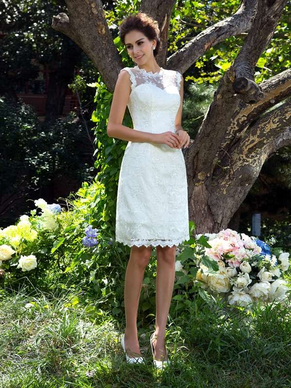 A-Line/Princess Applique Sheer Neck Sleeveless Knee-Length Satin Wedding Dresses