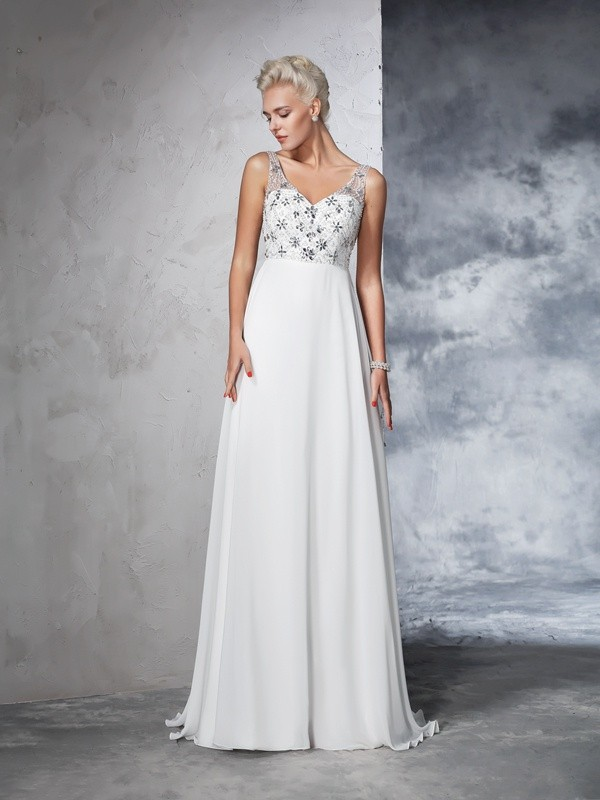 A-Line/Princess Beading V-neck Sleeveless Sweep/Brush Train Chiffon Wedding Dresses