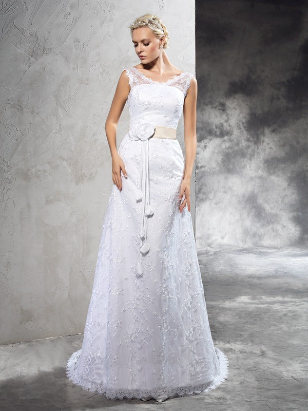 Sheath/Column Hand-Made Flower Sheer Neck Sleeveless Court Train Satin Wedding Dresses