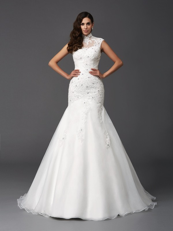 Trumpet/Mermaid Beading High Neck Sleeveless Sweep/Brush Train Organza Wedding Dresses