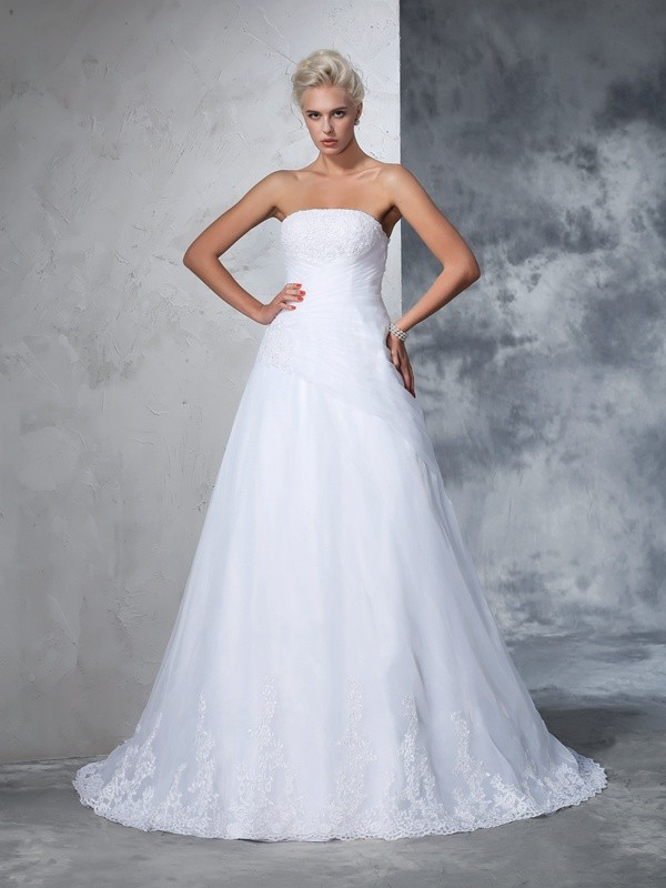Ball Gown Applique Strapless Sleeveless Court Train Net Wedding Dresses