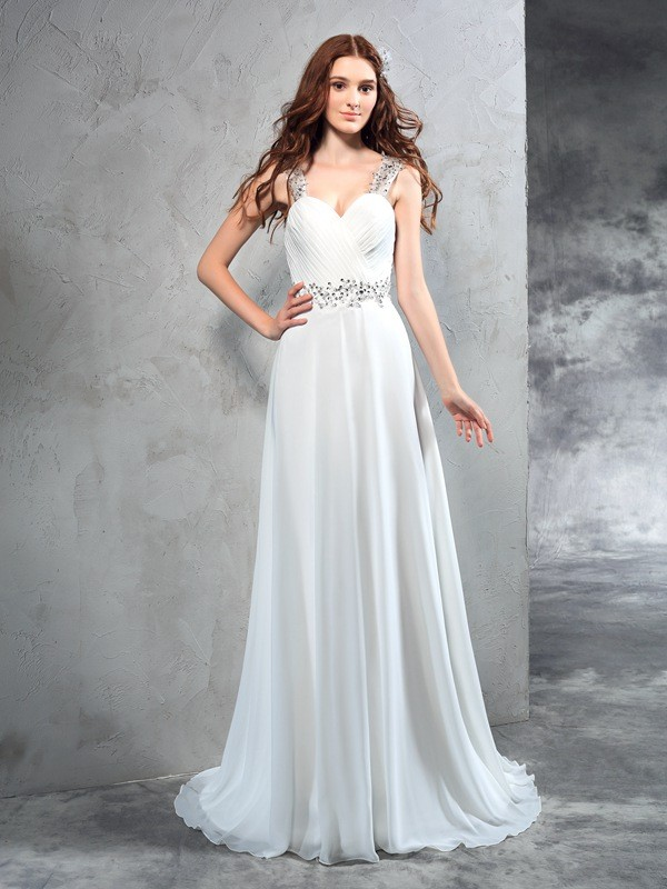 A-Line/Princess Pleats Sweetheart Sleeveless Sweep/Brush Train Chiffon Wedding Dresses