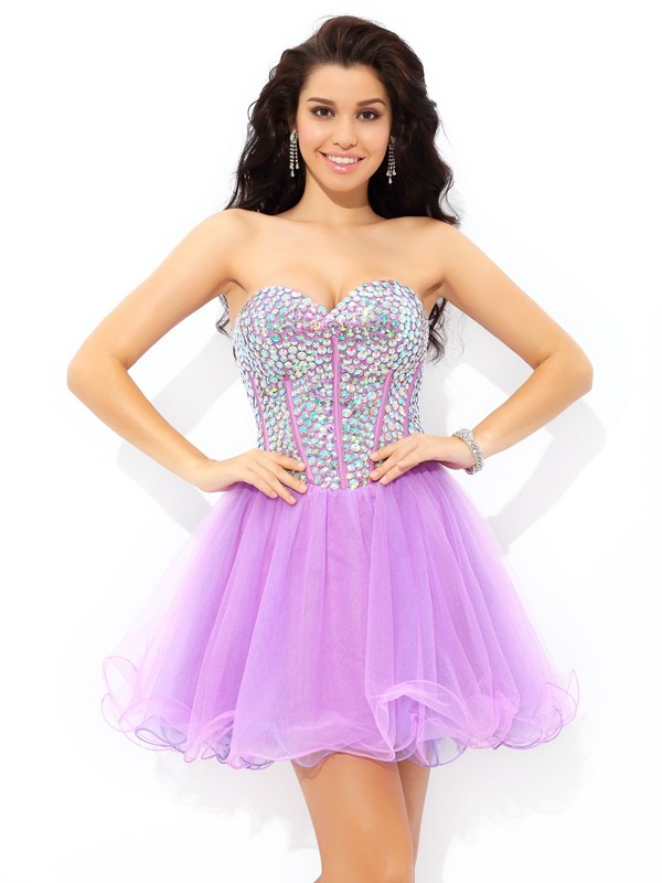 A-Line/Princess Paillette Sweetheart Sleeveless Short/Mini Net Dresses