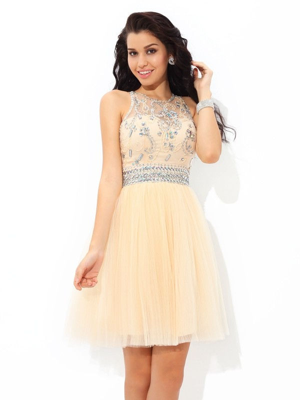 A-Line/Princess Beading Sheer Neck Sleeveless Short/Mini Net Dresses