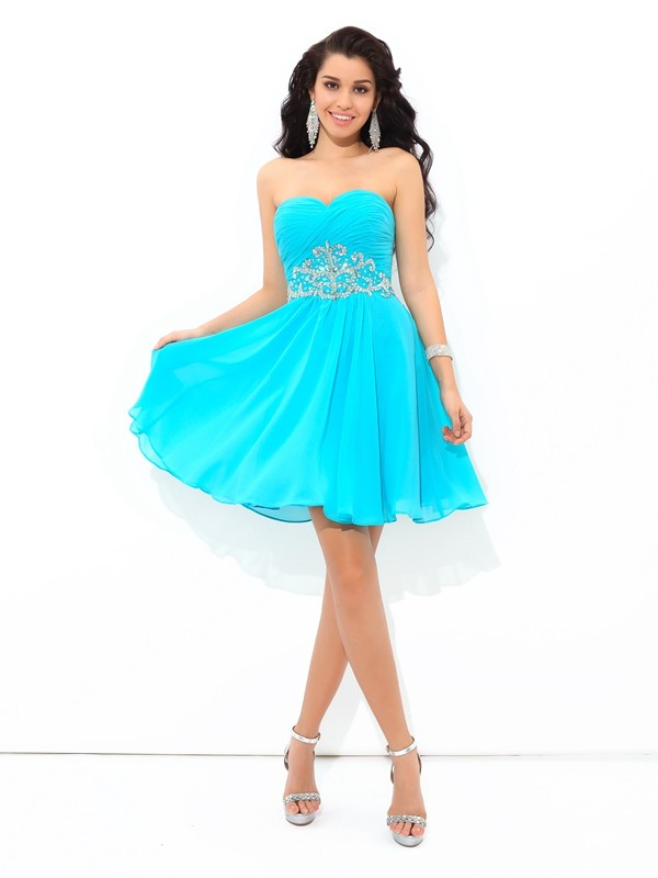 A-Line/Princess Pleats Sweetheart Sleeveless Short/Mini Chiffon Dresses