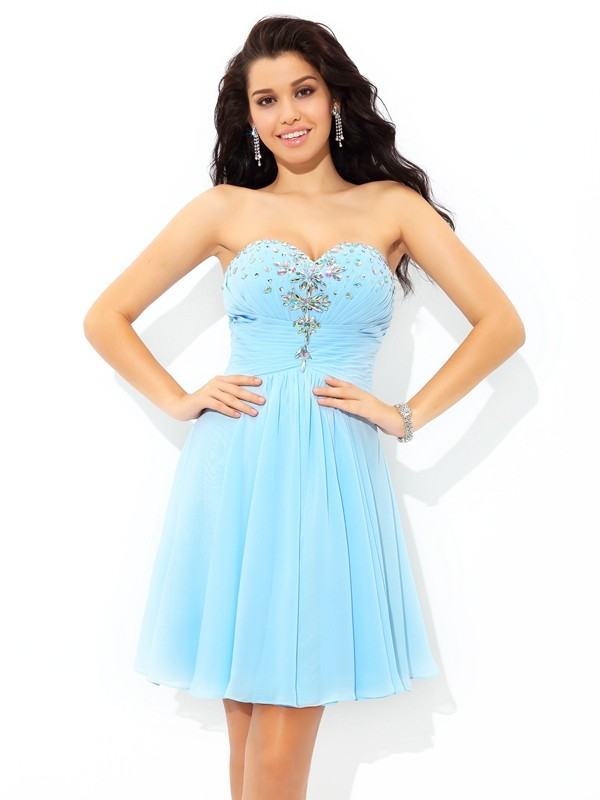 A-Line/Princess Beading Sweetheart Sleeveless Short/Mini Chiffon Dresses