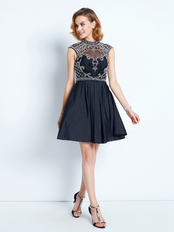 A-Line/Princess Beading High Neck Sleeveless Short/Mini Satin Dresses