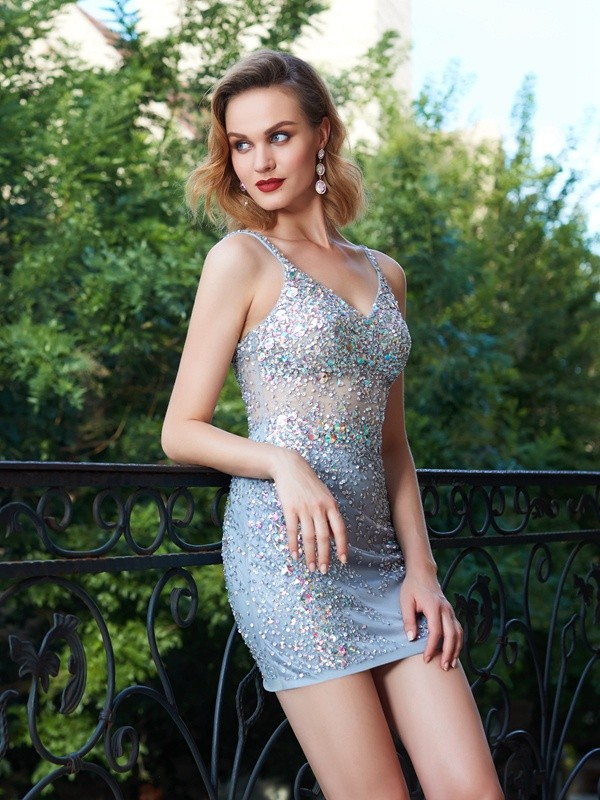 Sheath/Column Sequin Spaghetti Straps Sleeveless Short/Mini Net Dresses